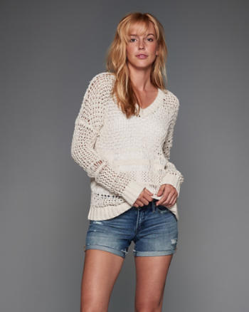 ANF Open Stitch V-Neck Sweater