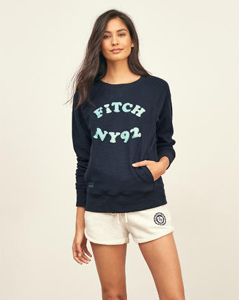 ANF Embroidered Logo Graphic Crew Sweatshirt