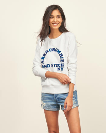 Womens Embroidered Logo Graphic Crew Sweatshirt