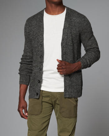 Mens Ribbed Linen Cardigan