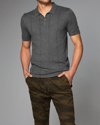 Mens Wool Blend Sweater Polo
