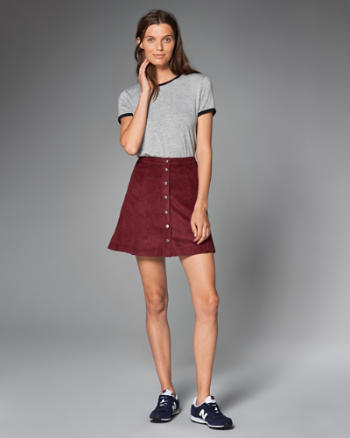 ANF Faux Suede A-Line Skirt