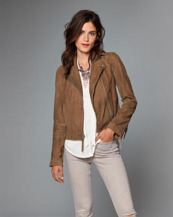 Womens Genuine Suede Biker Jacket