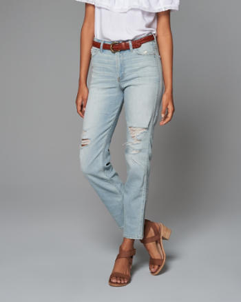Womens High Rise Straight Boyfriend Jeans