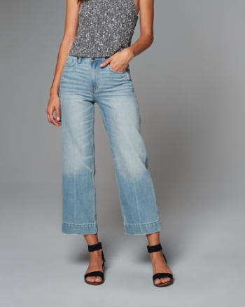 Womens High Rise Cropped Stovepipe Jeans