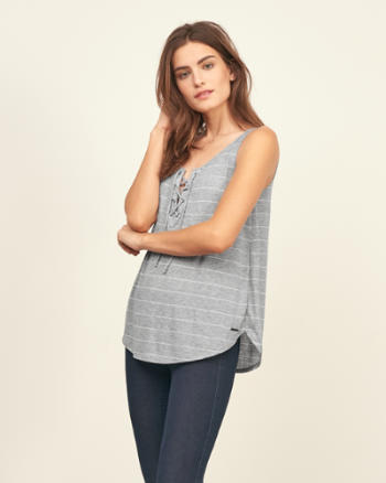 Womens Lace Up Tank