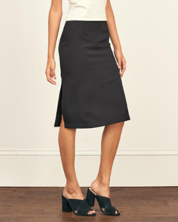 Womens Crepe Midi Skirt