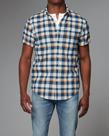 Mens Plaid Madras Short Sleeve Shirt