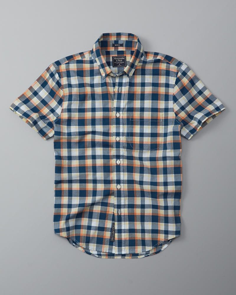 Mens plaid madras short sleeve shirt mens clearance for Short sleeve mens dress shirts clearance