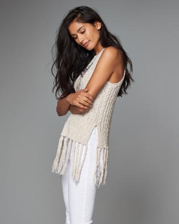 Womens Sweater Fringe Tank