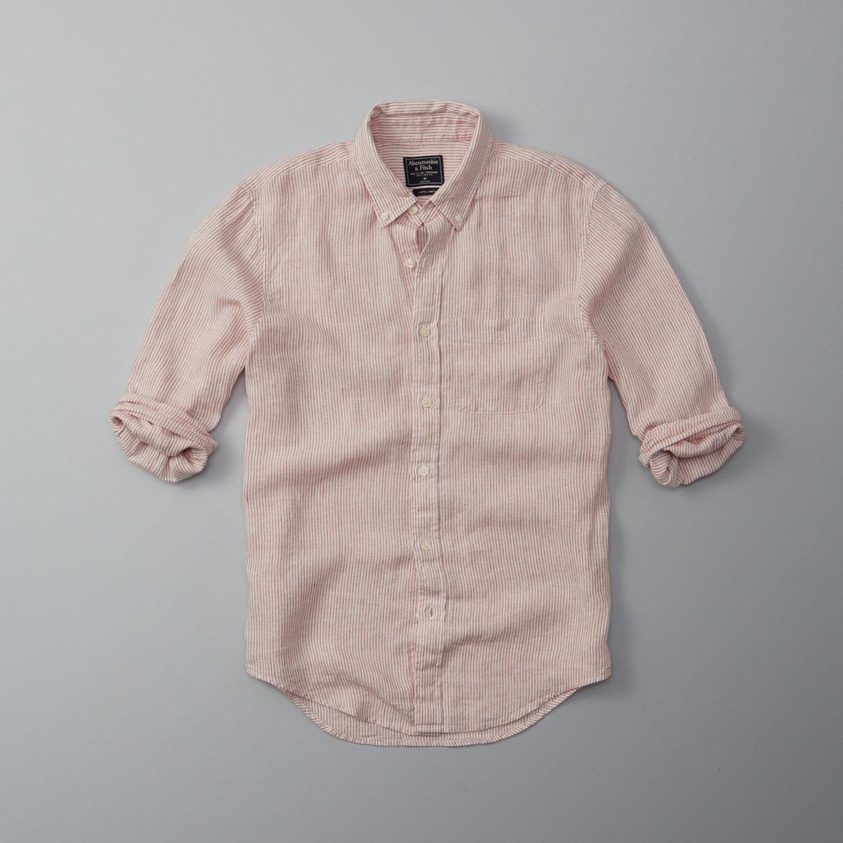Garment Dye Stripe Linen Shirt