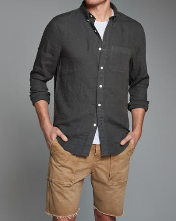 Mens Garment Dye Linen Shirt