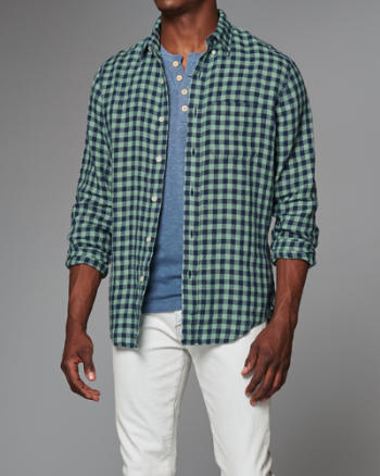 Mens Garment Dye Plaid Linen Shirt