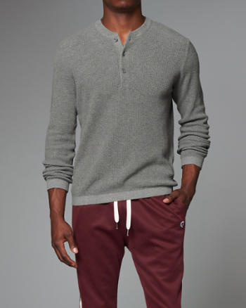 Mens Waffle Henley Sweater