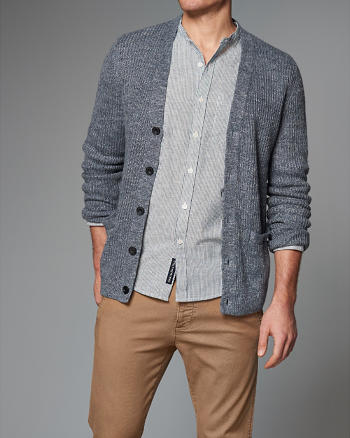 ANF Ribbed Linen Cardigan