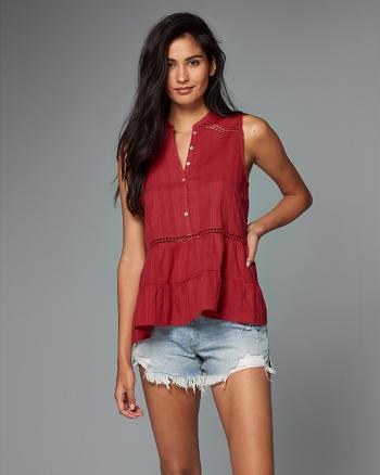 ANF Sleeveless Button-Front Shirt