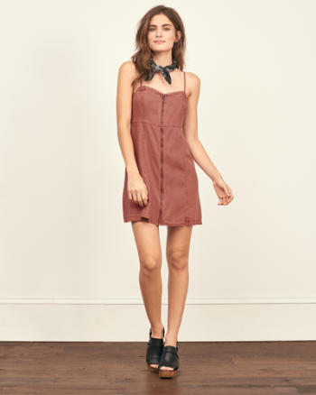 Womens Zip Front Skater Dress