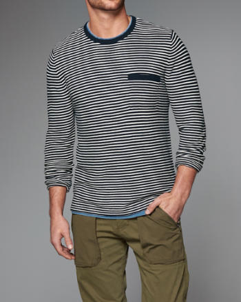 Mens Striped Crew Sweater