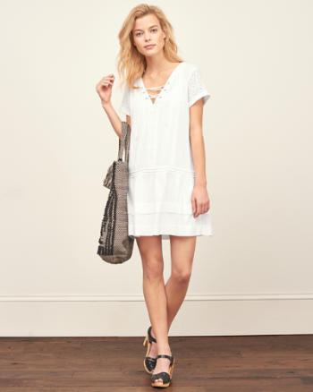 Womens Lace Up Eyelet Shift Dress