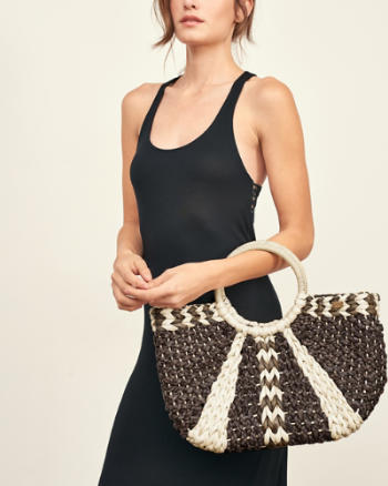 Womens Woven Straw Basket Bag