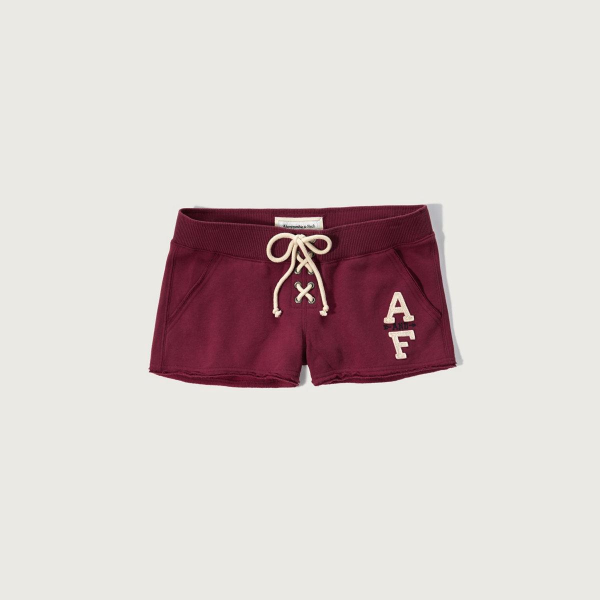 Logo Lace Up Fleece Shorts