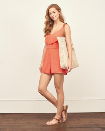 Womens Ruffle Front Romper