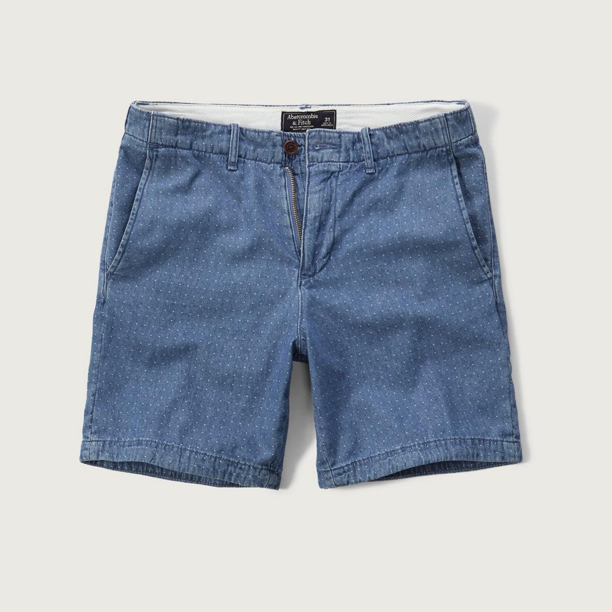 A&F True Indigo Dye Preppy Fit Shorts