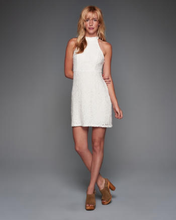 Womens Lace Halter Mockneck Skater Dress