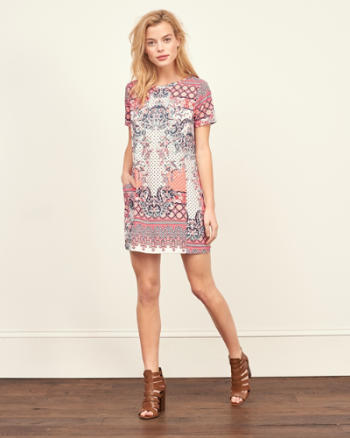 Womens Crepe Shift Dress