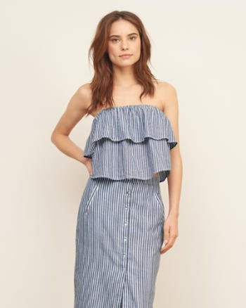 Womens Stripe Strapless Top