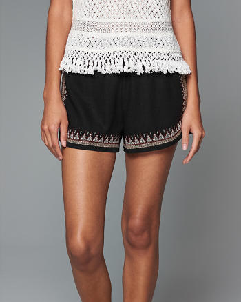 ANF Embroidered Linen Soft Shorts