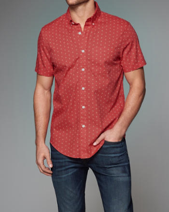 Mens Patterned Poplin Shirt