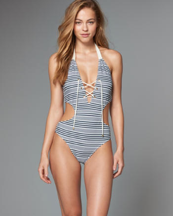 Womens Lace Up One Piece Swimsuit