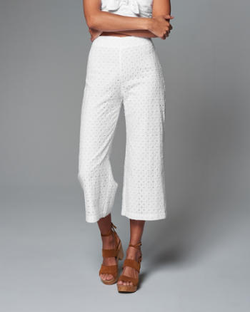 Womens Cropped Wide Leg Pants