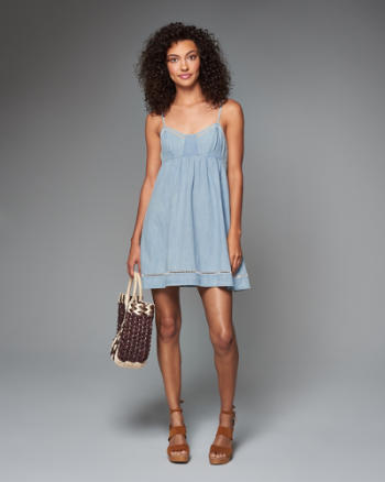 Womens Denim Babydoll Dress