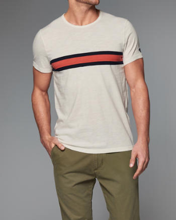 Mens Chest Stripe Crew Tee