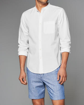 Mens Banded Cotton Poplin Shirt