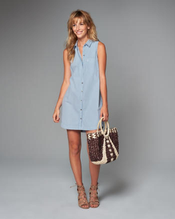 Womens Sleeveless Shirt Dress