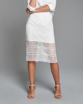 Womens Slim Lace Midi Skirt