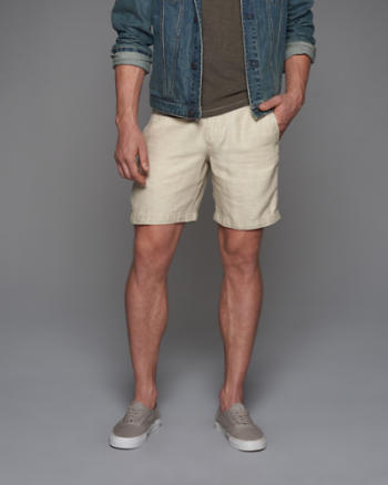 Mens Linen Preppy Fit Shorts