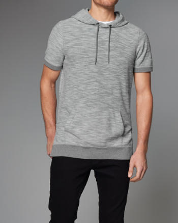 Mens Side-Zip Short-Sleeve Hoodie