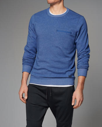 Mens Active Zip-Pocket Crew Sweatshirt