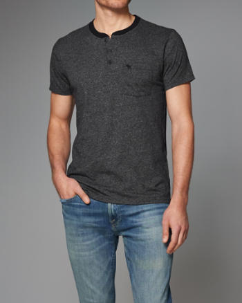 Mens Short-Sleeve Henley