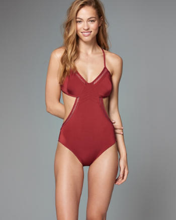 Womens Mesh-Accent Strappy One-Piece Swimsuit