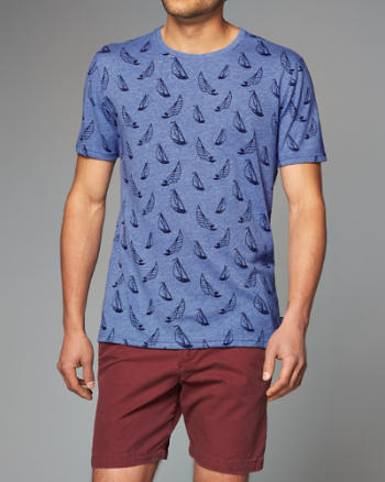 Mens Patterned Crew Tee