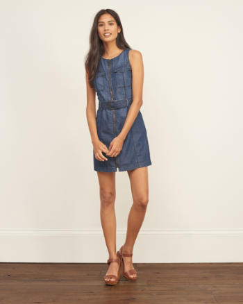Womens Denim Sleeveless Shirt Dress