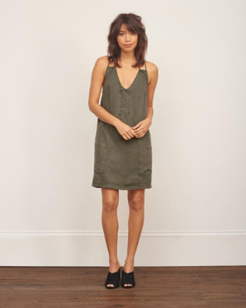 Womens Strappy Slim Shift Dress
