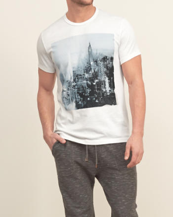 Mens Printed City Graphic Tee
