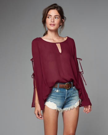 Womens Split Sleeve Peasant Top