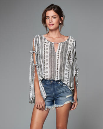 ANF Split Sleeve Peasant Top